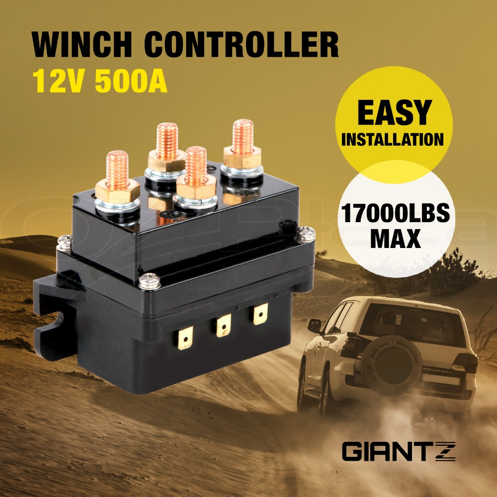 12v winch controller solenoid 500a dc switch 4wd 4x4 boat atv control relay 17 000lbs capacity heavy duty upgrade [ 1000 x 1000 Pixel ]