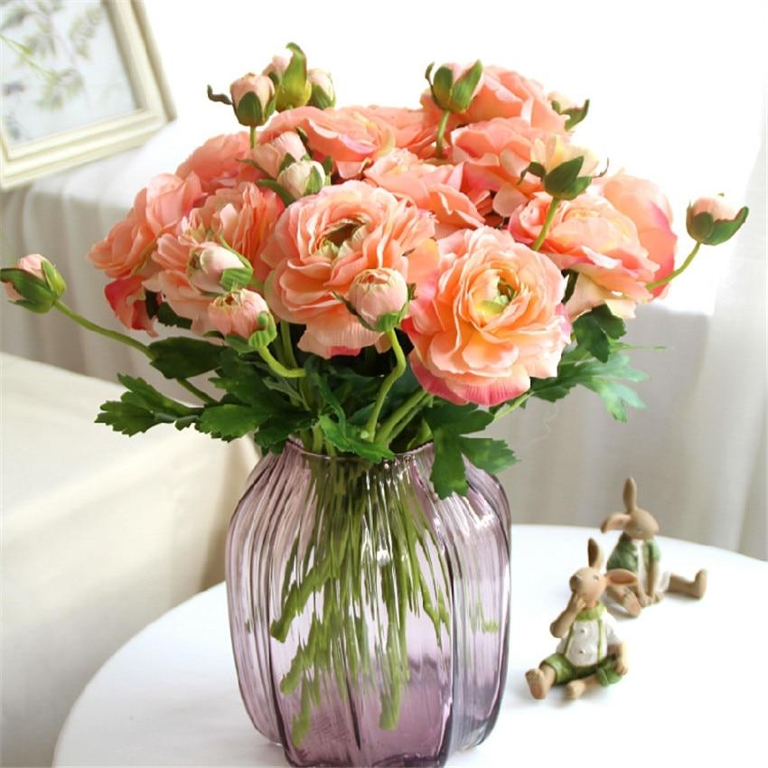 2 blommhuvud europeiska silkesblommor 1 st bukett konstgjord vår - Semester och fester - Foto 6