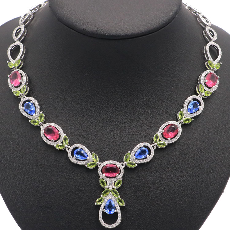 """Vícebarevný turmalín, Peridot, fialový Tanzanite CZ Dárkový stříbrný náhrdelník 17.0-18.0in """"43x31mm"""