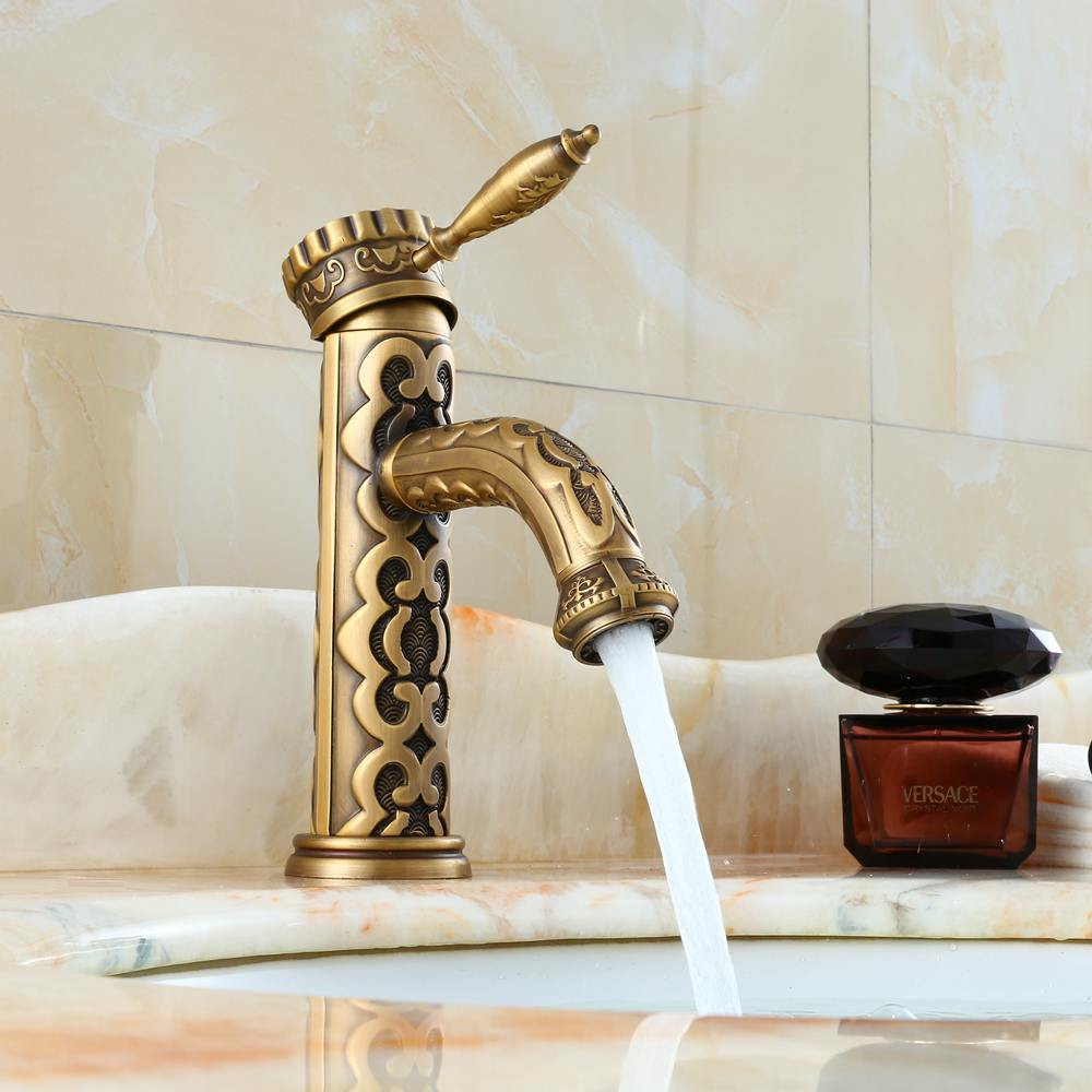 Antique Bronze Bathroom Sink Superior luxury Faucet Craved Brass Crane Hot and Cold Water Mixer Tap Basin Sink Faucets ELDK301Antique Bronze Bathroom Sink Superior luxury Faucet Craved Brass Crane Hot and Cold Water Mixer Tap Basin Sink Faucets ELDK301