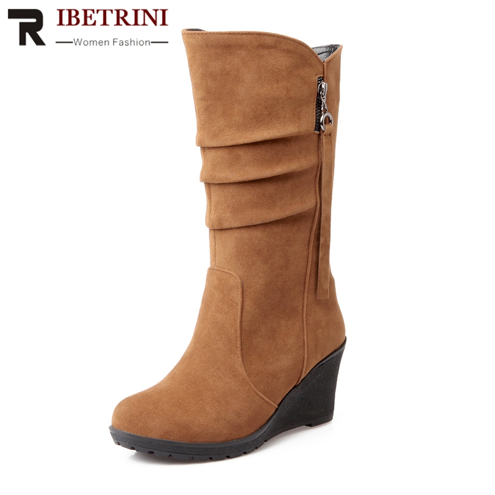 RIBETRINI Women Half-knee High Boots High Heel Wedge Shoes Woman Winter Add Fur Shoes Cool Snow Boots Large Size 28-49 bonjomarisa women riding style motorcycle boots chunky heel platform shoes woman winter add fur knee high snow boots
