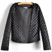 Black Cool Zipper Women Coat Motorcycle Leather Jacket PU coat