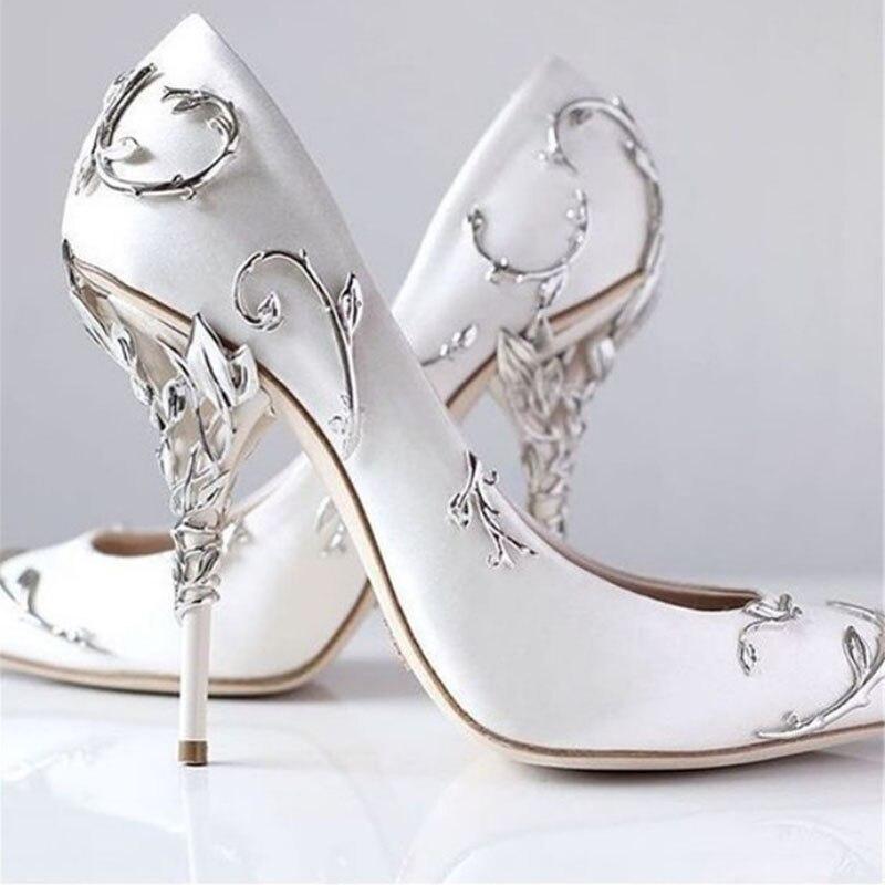 Sliver Folhas Espiral Naturalmente Até Calcanhar Branco Chic Cetim Eden Bombas Dos Saltos de Estilete Das Mulheres Sapatos de Casamento Sapatos de Noiva Mulher