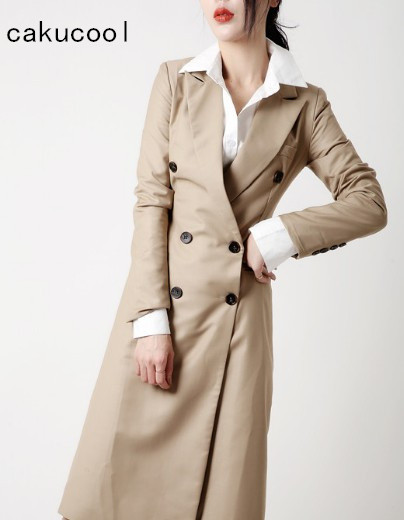 purchase cheap 755db 16363 Cakucool-Femmes-Classique-Tranch-e-Mince-Manteau-Mi-Long-Double-Boutonnage-Coupe-Vent-Office-Lady-Travail.jpg