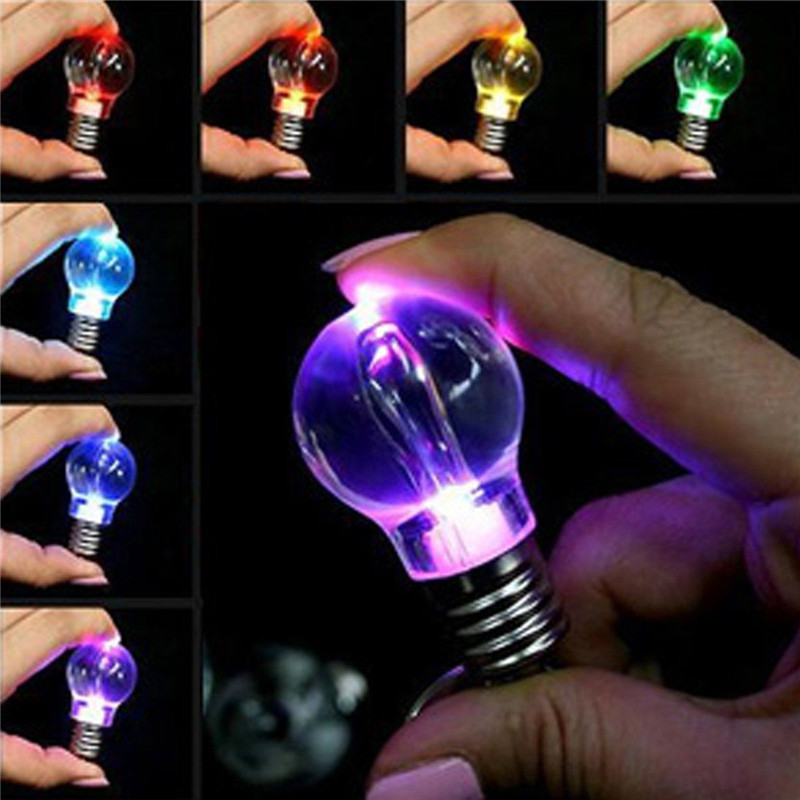 LNRRABC Hot 1 Pc Unisex Women Men New Popular Clear LED Light Lamp Bulb Change Colors Key Chain Gift