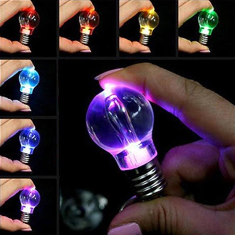 LNRRABC Hot 1 Pc Unisex Women Men New Popular Clear LED Light Lamp Bulb Change Colors Key Chain Gift