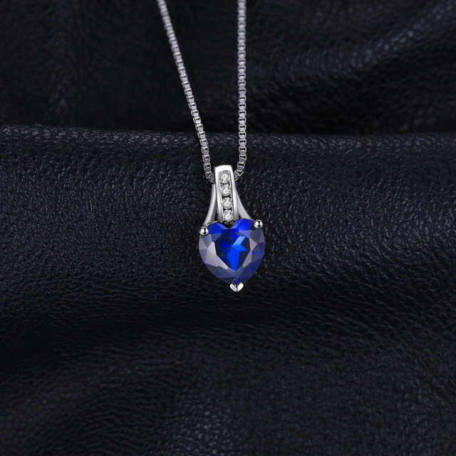 1.7 ct Created Blue Sapphire Heart Pendant  1