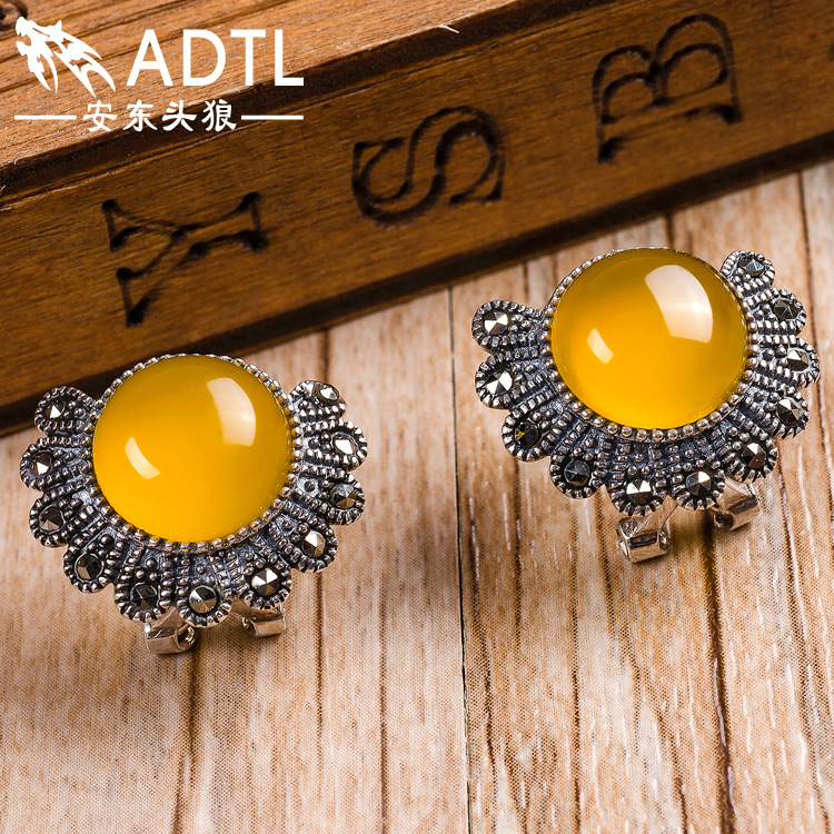female Handmade 925 Sterling silver Natural semi-precious stones yellow chalcedony peacock Retro hollow pattern Earrings 925 sterling silver jewelry natural semi precious stones retro yellow chalcedony earring classical retro girlfriend gift