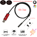 7mm Lens 1m Cable Ip67 Waterproof 2 IN 1 USB Android Endoscope 6 LED Snake Borescope Inspection Camera Endoscope For Android PC