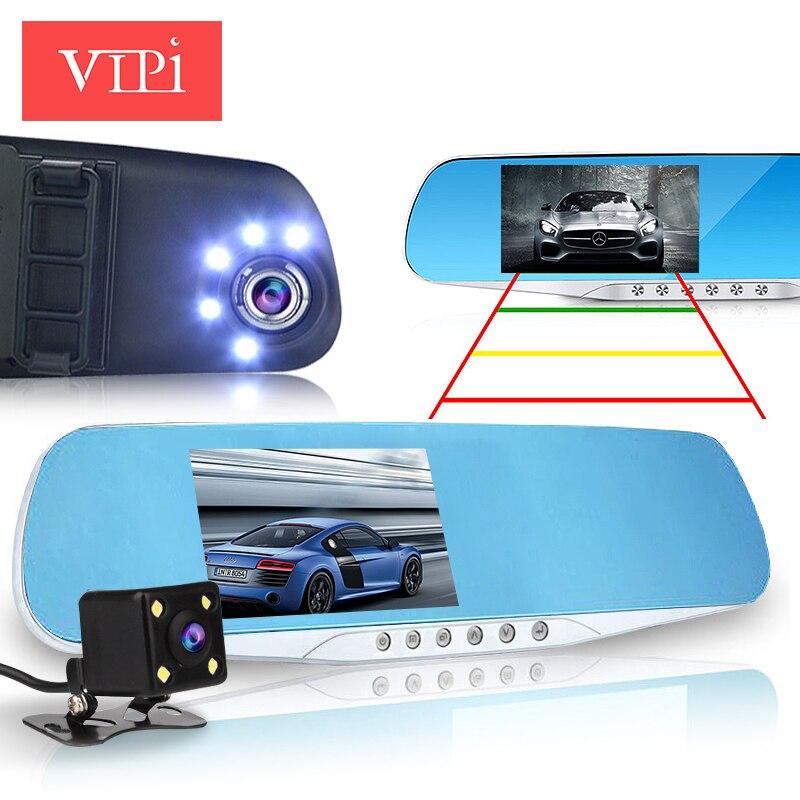imágenes para Lente dual cámara del coche espejo retrovisor auto registrator dvrs coches dvr grabador de vídeo completo hd1080p visión nocturna dash cam videocámara