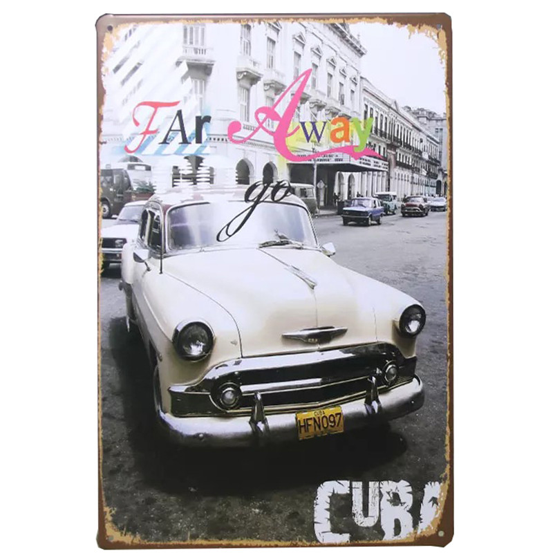 Tin Signs Vintage Classic Car Creative Tintin USA Map Metal Garage Iron Painting Plaque Poster Club Cuba Wall Decor Bar 30 20cm in Plaques Signs from Home Garden