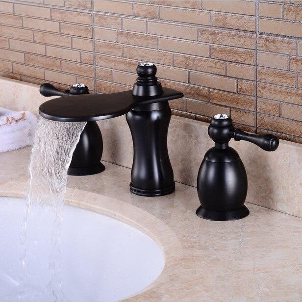 Robinets de bassin en laiton noir pont monté robinet de salle de bain étendu avec diamant Double poignée lavabo mitigeur robinets
