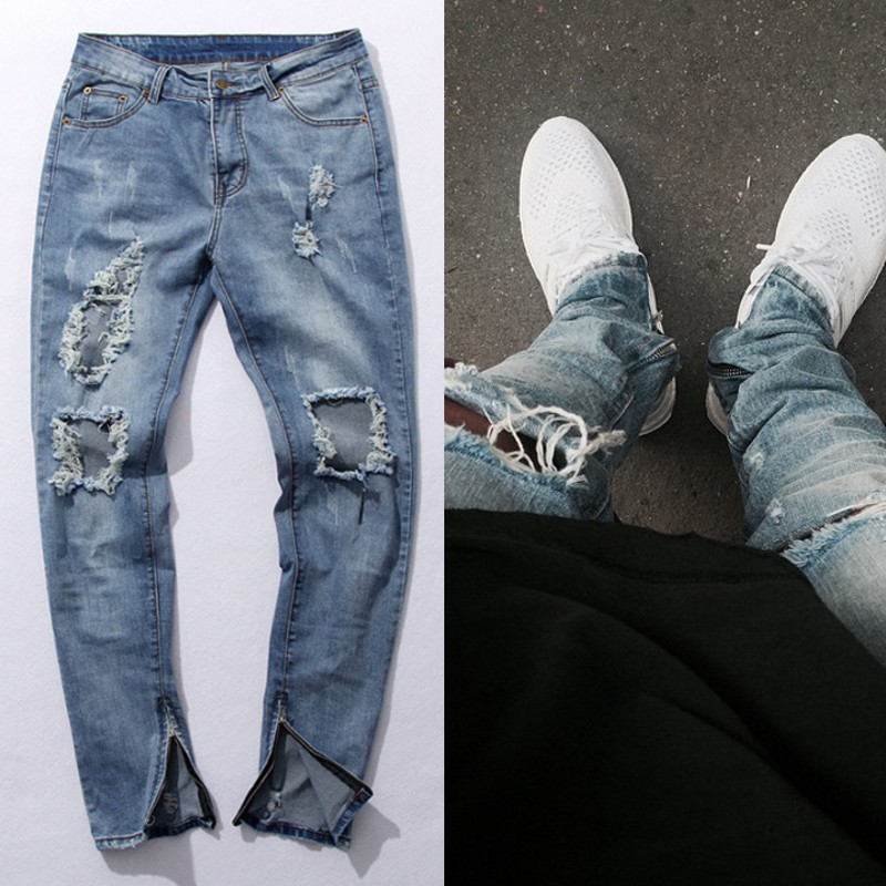 KANYE WEST Fear of god Knee Hole Side Zipper Slim Distressed Jeans  Men justin bieber Ripped tore up Jeans For Men amy066 футболка мужская dan jieshi 2015
