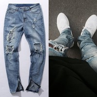 Fear Of God Jeans Mens Knee Hole KANYE WEST Side Zipper Slim Distressed Jeans Knife Cut
