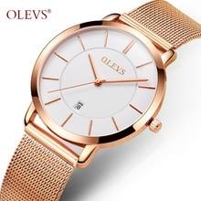 Ultra thin Watches OLEVS Rose Gold Watch For Women Calendar Mesh Steel Strap Wristwatch Quartz Ladies Watches relogio feminino