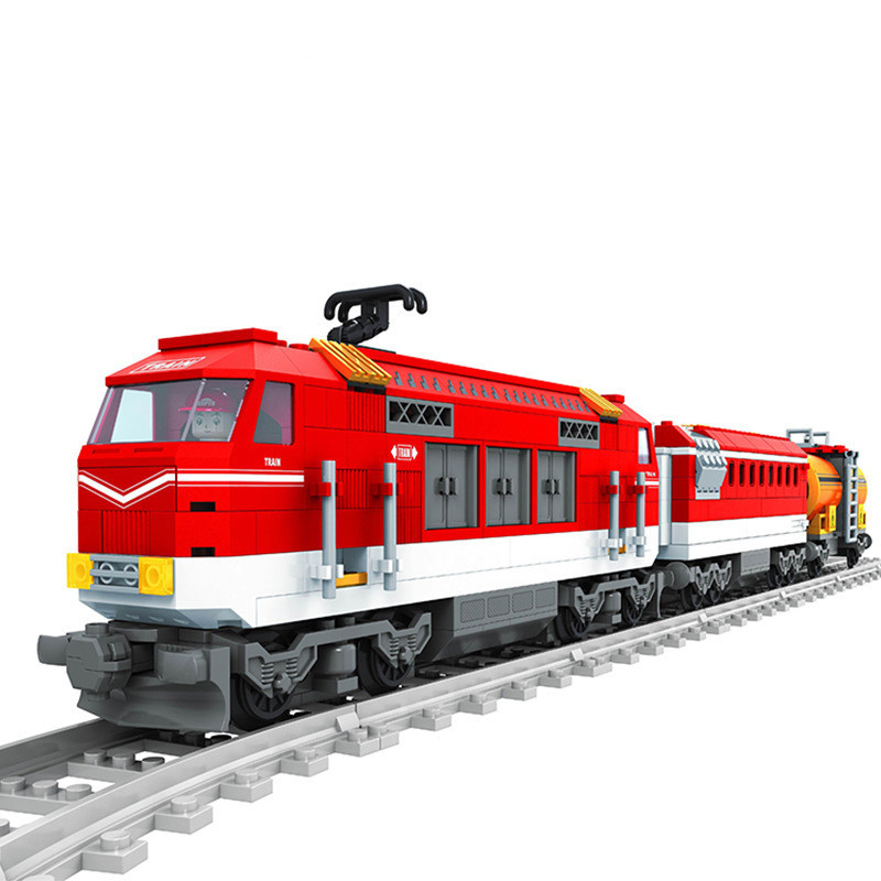 Transport Train with Tracks 588pcs Building Blocks Railroad Conveyance Set Model Bricks Kids Toys for children Gift building blocks super heroes back to the future doc brown and marty mcfly with skateboard wolverine toys for children gift kf197