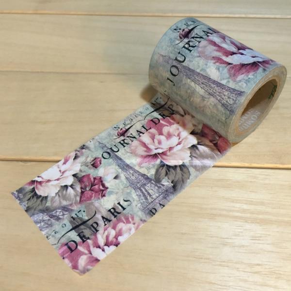 6cm*10m Beautiful Flower and Paris tower Washi Tape/ Adhesive Tape DIY Scrapbooking Sticker Label Masking Tape