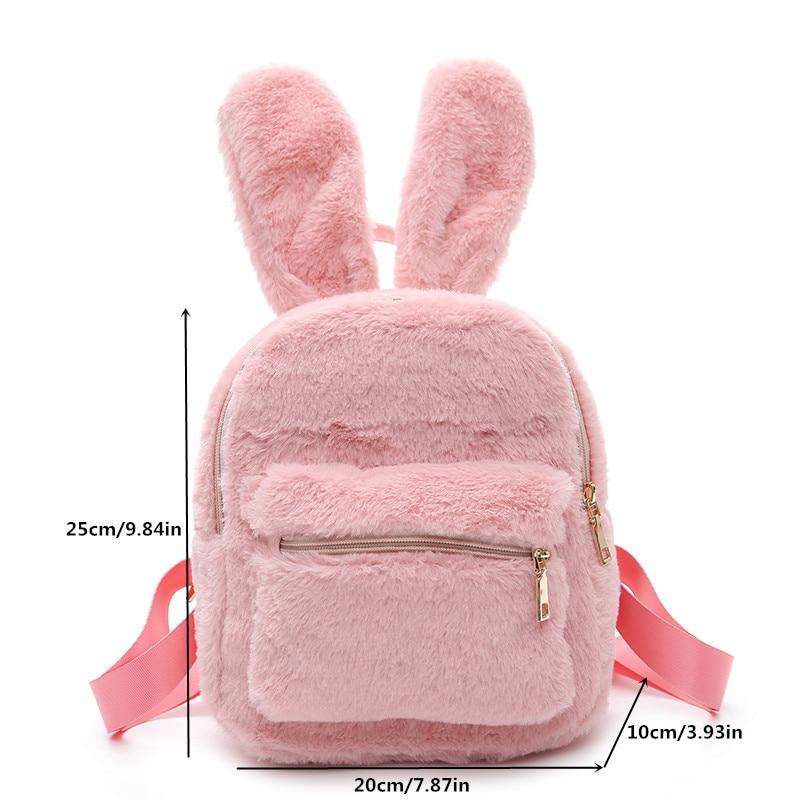 Rabbit Ear Backpack Bag Zipper Kids Shoulder Crossbody Satchel Adjustable strap