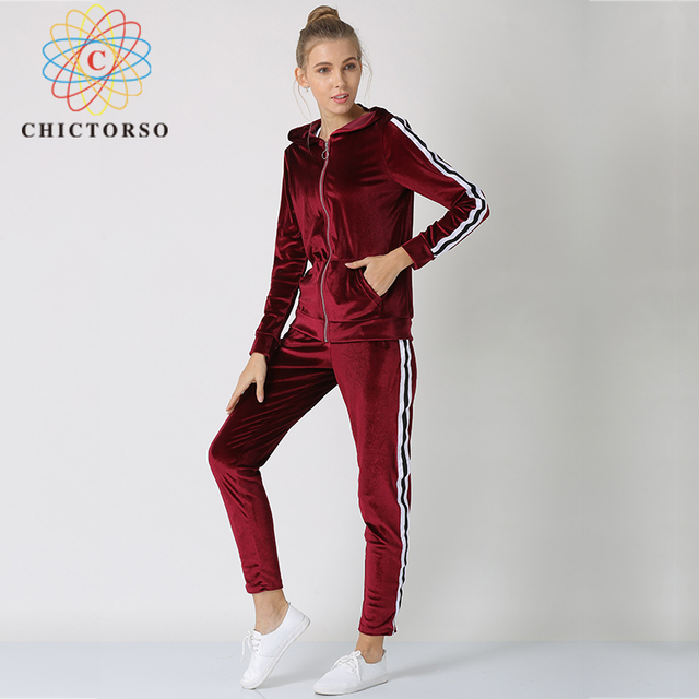 Chictorso New Two Piece Set Long Sleeve Women Velvet Tracksuits Long Pant  Sets 2 Piece Hooded Tops Women s Costumes Suits New 70606f4d07