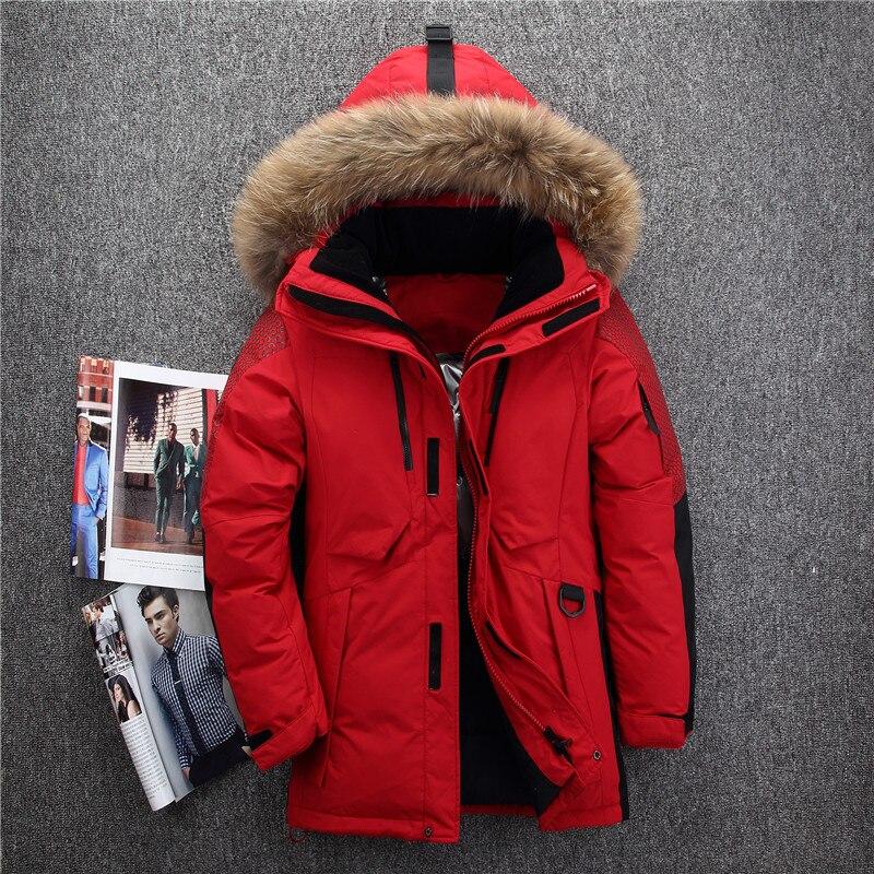 -40 Grad Kalt Beständig Russland Winter Jacke Männer Top Qualität Aus Echtem Pelz Kragen Dicke Warme Weiße Ente Unten Männer Der Winter Mantel Exquisite Handwerkskunst;