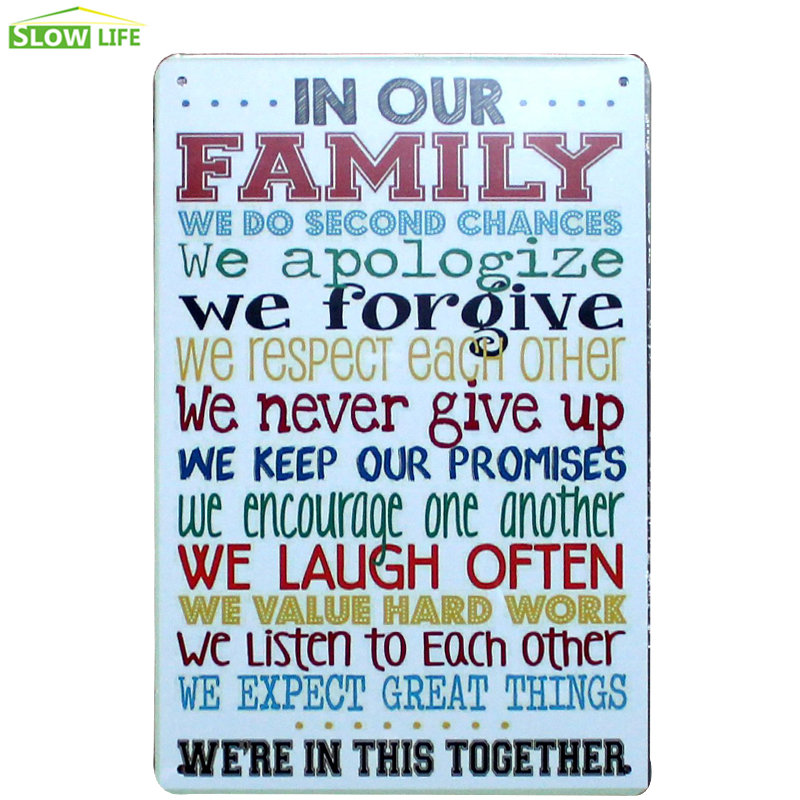 In Our Family Rules Metal Tin Sign Hotel/Family Wall Decor