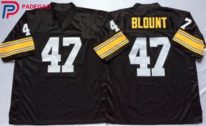 08eb5dc93 Embroidered Logo Mel Blount 47 black Throwback high school FOOTBALL JERSEY  for fans