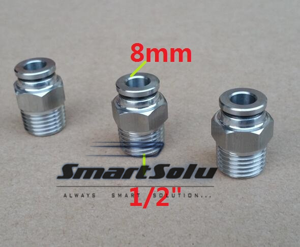 Free shipping 10pcs/lot 8MM Tube Size 1/2 Thread stainless steel push-in fitting Threaded pipe fittings pneumatic fittings