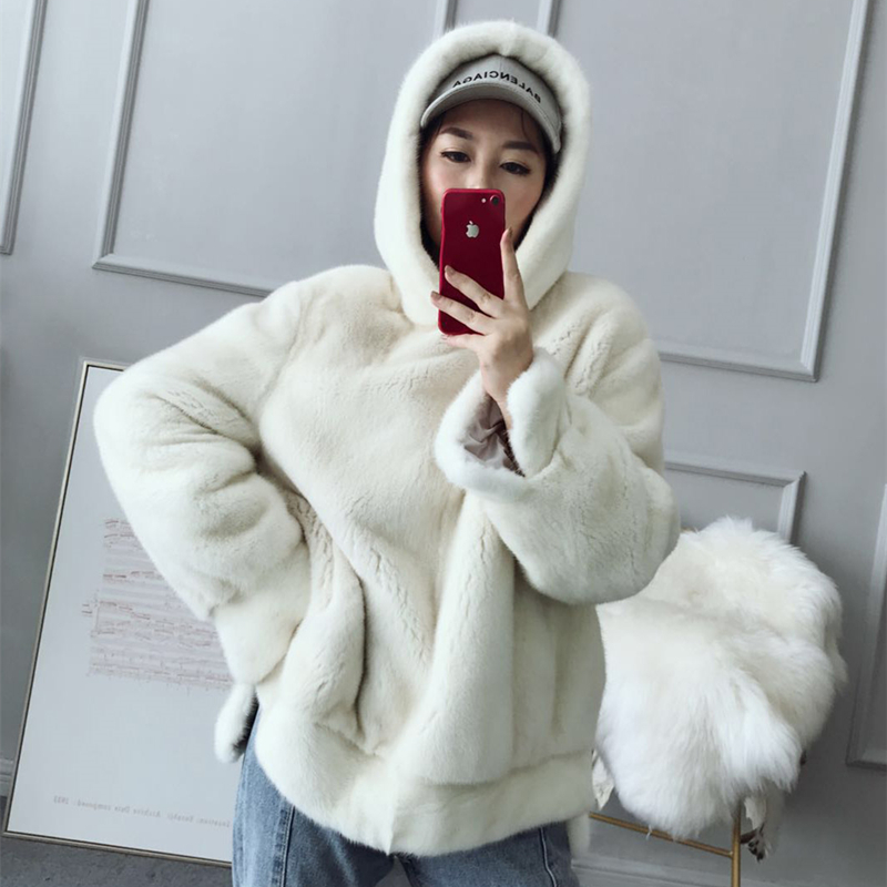 Real Mink Fur Women Regular Overhead  Coat With Hood Winter Warm Thick  Whole Mink Fur  Jacket
