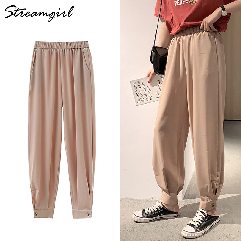 Streamgirl Casual Loose   Pants   Women Summer Elastic Waist   Capri   Harem Pantalon Femmes Summer   Pants   Large Size Women Chiffon   Pant