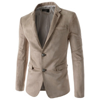 Men Blazers Casual Single Breasted Two Button Solid Suede Fabric Slim Suits Elegant Man Blazers Full