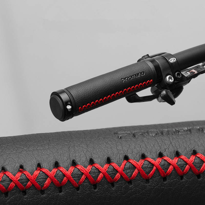 PROMEND Fiber Leather Bicycle Grips MTB Aluminium Double Lock Anti Skid Handlebar Grip