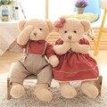 1 Пара 45 см Kawaii Teddy Bear Плюшевые Игрушки Действия Пара Медведей в Одежде Куклы Свадьба Фестиваль День Рождения Особенным подарок