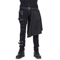 Стимпанк мода Для мужчин Повседневное DetachableTrousers Готический Личность штаны с дырками Для мужчин середины талии платье для выступлений на сц