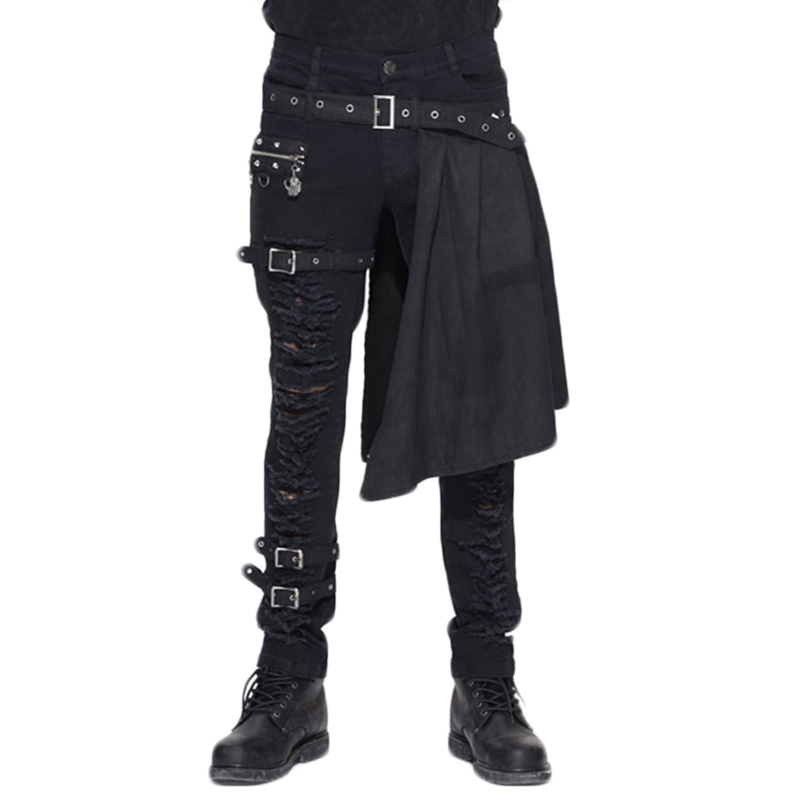 Gothic Steampunk Winter Casual Long Trouser 2016 New Personality Hole Pants Men Detachable Waist Closure Stage Pant Black Color sticker