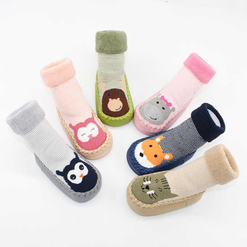 2018 Newborn Spring Autumn Winter Infant Funny Socks Anti Slip Baby Boy Socks With Rubber Soles Baby Girl Cute Socks