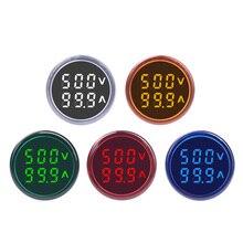 Круглый светодиодный амперметр с двойным дисплеем переменного тока, вольтметр, амперметр, цифровой индикатор напряжения, сила тока в амперах, Индикатор 60-500 В, 220 В, а