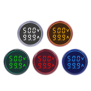 Round LED Dual Display AC Amp Volt Ampermeter Voltmeter Ammeter Digital Voltage Current Ampere Meter Indicator 60-500V 220V 100A three phase digital voltmeter ammeter digital ampere panel meter 96 96 led display combined meter