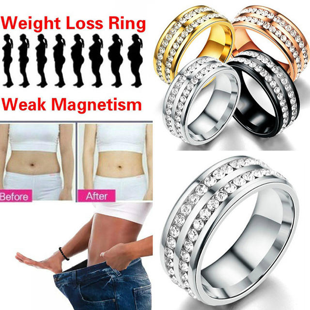 Women Fashion Slimming Healthcare Fat Burning Weight Loss Ring Anillo Mujer Bague Crystal Stainless Steel Rings Jewelry 1
