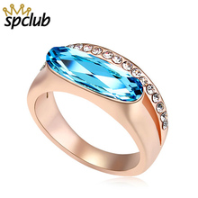 cd71bd6f53da37 Fashion Luxury Charm Crystals from Swarovski Wedding Ring Women Gold Color  Party Jewelry Top Quality Free