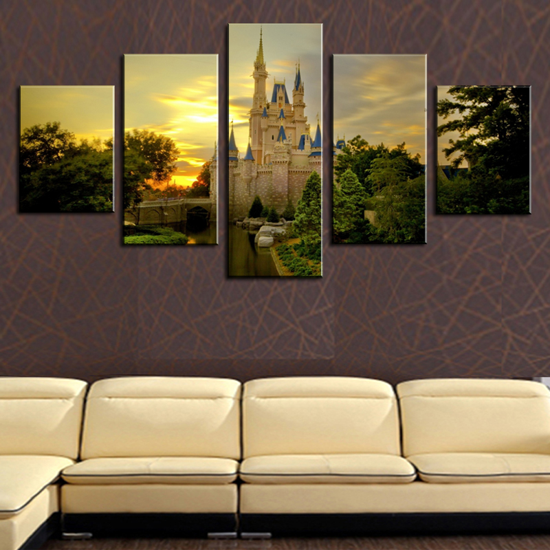 No Frame 5 Panels Wall Pictures For Living Room The European Construction Canvas Painting Art Decoration