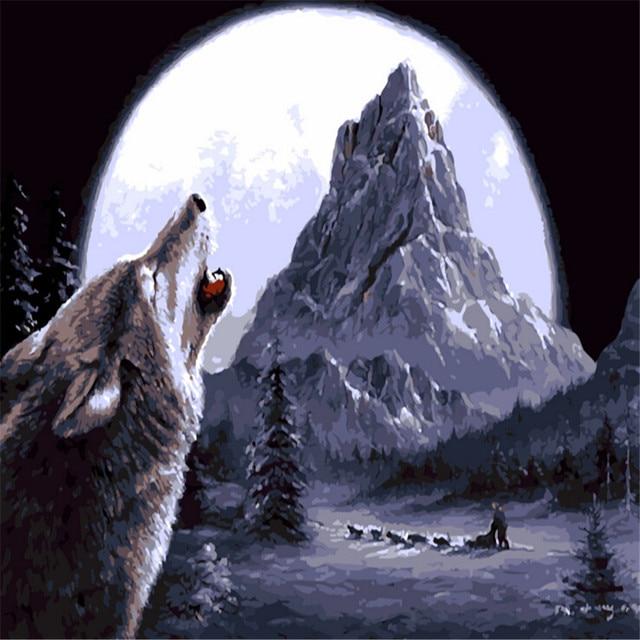 Lobo Aullando A La Luna Pintura Al óleo Por Números Diy Imagen