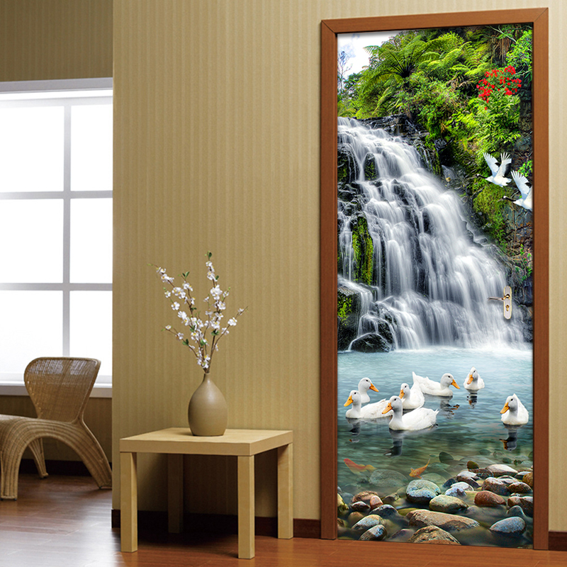 Chinese Style Waterfall Landscape 3D Wall Mural Door Sticker Study Room Living Room Home Decor PVC Waterproof Door Wallpaper 3 D chinese style blue peacock mural wallpaper modern living room bedroom door wall mural sticker pvc waterproof vinyl 3d home decor