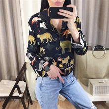 Spring Women Long Sleeve Animal Print Blouse Notched Collar Loose Crop Tops Vintage Asymmetric Length Casual Shirts