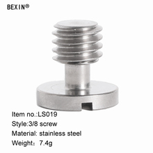 3/8 UNC stainless steel slotted round screw for tripod monopod ball head quick release plate