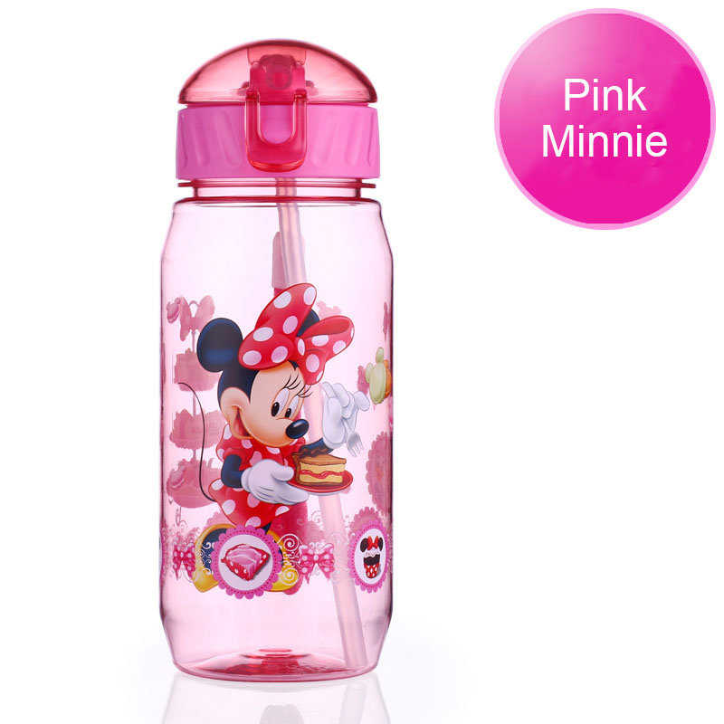 Disney 17 Children Straw Plastic Water Bottle BPA Free Lovely Cartoon Eco-friendly With lid Portable Camp Student Water tumble 19