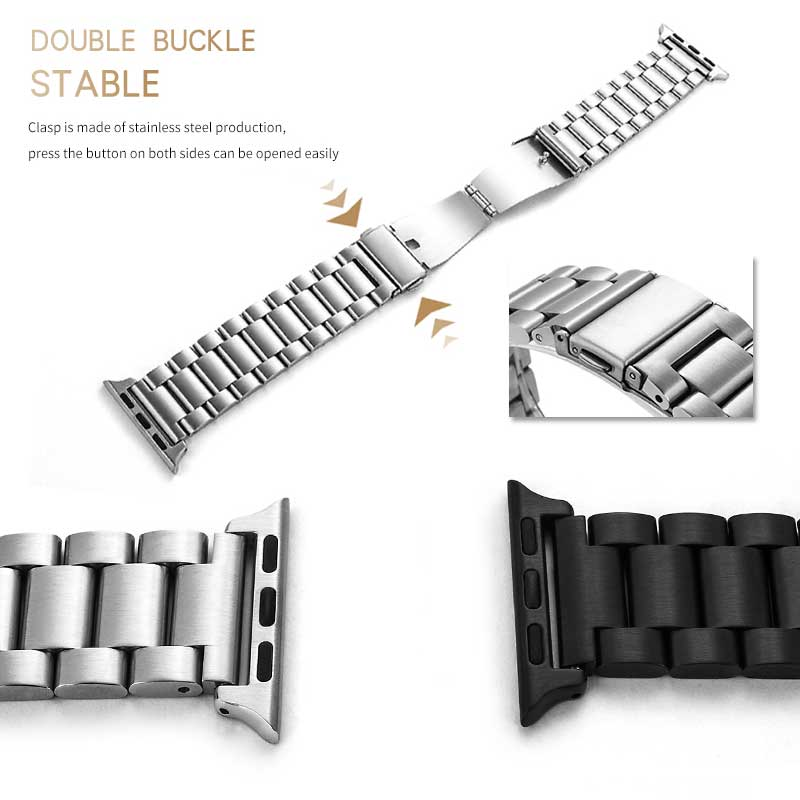 Stainless Steel Watch Bands For Apple Watch 38mm 42mm Link Bracelet Strap Fashion Bands For Iwatch Wholesales Butterfly Clasp