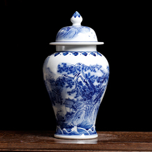 Chinese Landscape Design Blue And White Porcelain Ceramic Vase Temple Ginger Jars