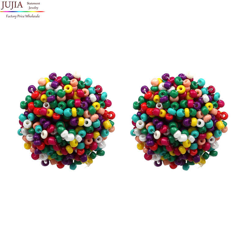 6 colors good quality beads earring 2019 New statement fashion stud Earrings  for women bccc367ff748