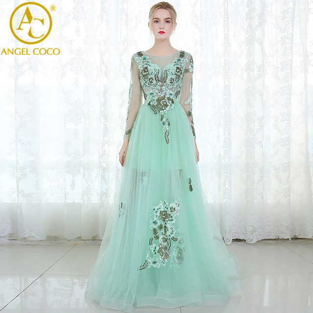 High Quality Green Tulle Flowers Long Sleeve Evening Dress Prom ...