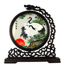 Tangfoo Chinese Handicraft Embroidery Suzhou Double-sided Screen Decoration Beautiful Silk Flower Scenic Bird Pattern